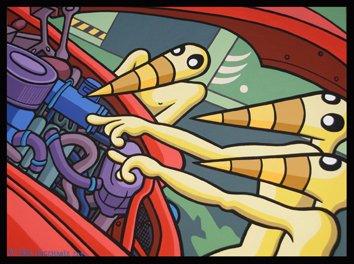 Exposition Engines moteur et citrons carton born bad